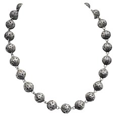 Vintage Silver Filigree Bead Necklace - 1940s
