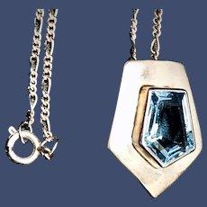 Vintage Pentagon-shaped Topaz Sterling Pendant Necklace
