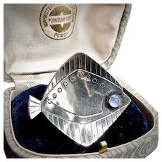 Signed Hugo Grun Fish Brooch with Moonstone Eye - Early 1900s
