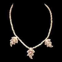Vintage Carved Bone Bead and Leaf Necklace - 1930-40s