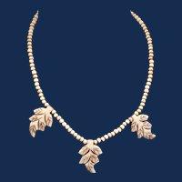 Vintage Carved Bone Bead and Leaf Necklace - 1930-40s