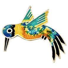 Vintage Hummingbird Multi-colored Enamel Sterling Brooch