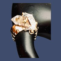 14K Gold Mesh and Diamond Buckle Ring