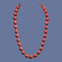 Vintage Chinese Hand-carved Red Cinnabar Necklace - 1940s