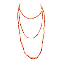 Victorian Guard Graduated Coral Bead Necklace