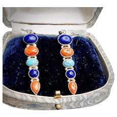 Lapis Lazuli, Spiny Oyster, Turquoise Sterling Silver Earrings