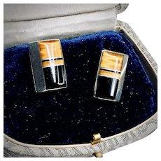 Vintage Onyx and Tigers Eye Sterling Silver Earrings