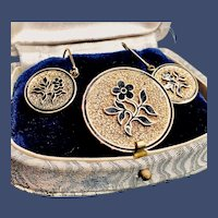Victorian 14K Taille d'Epargne Black Enamel Brooch and Earring Set