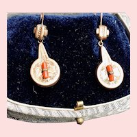 VIctorian Rolled Gold Coral Earrings