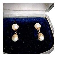 14K Yellow Gold Cultured Pearl Wedding Earrings