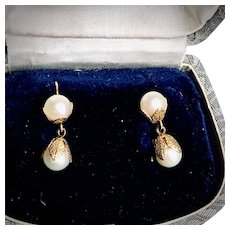 14K Yellow Gold Cultured Pearl Wedding Earrings