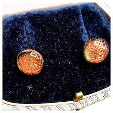 Vintage Fire Opal Glass Stud Earrings