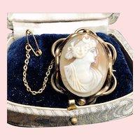 Antique Greek Goddess Selene Conch Shell Cameo Pinchbeck Brooch