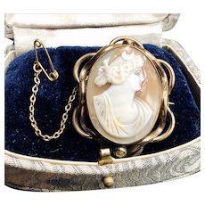 Antique Greek Goddess Selene Conch Shell Cameo Pinchbeck Brooch