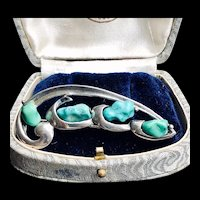 Vintage Turquoise Sterling Brooch