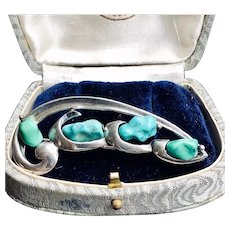 Vintage Turquoise Sterling Brooch