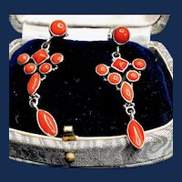 Coral and Sterling Silver Chandelier Earrings