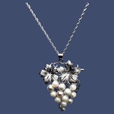 Vintage Pearl and Sterling Grape Motif Pearl Pendant/Brooch Necklace