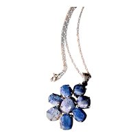 Natural Sapphire Sterling Pendant Necklace