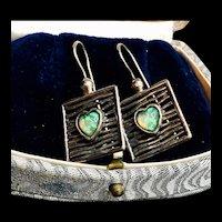 """Vintage Signed """"TL 925"""" Sterling Opal Gemstone Heart Earrings"""