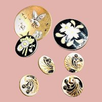 Seven Antique & Vintage Enamel Buttons of Various Sizes, Four Matching