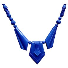 French Art Deco Vibrant Blue Celluloid Stunning 1930s Necklace Marked Depose