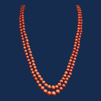 Double Strand Coral Bead Necklace with Coral-beaded Clasp