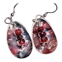 Antique Silver Spoon Earrings with Vintage Rubies