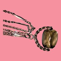 Antique Rolled Rose Gold Watch Chain and Gray-brown Topaz Spinner Fob