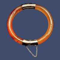 Vintage Russet with Red Waves Hinged Jade Bangle