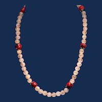 Artisan One-of-a-Kind Sunstone and Ladybug Necklace