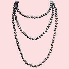 """Gray-Pink Iridescent Cultured Freshwater Pearls 52"""" Long Necklace"""