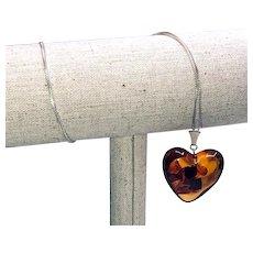 Vintage Natural Amber Heart Sterling Pendant Necklace - Valentine's Day Gift