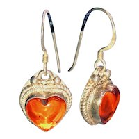 Baltic Amber Hearts Sterling Drop Earrings