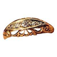 Edwardian 18K Gold Rose-cut Five-stone Diamond Band Ring 1912-13 Birmingham Hallmarked
