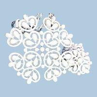 Signed Trifari White Earring Necklace Demi-parure - 1960s