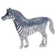 Vintage Sterling Silver Etched Zebra Brooch