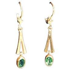 15K Yellow Gold Tourmaline Dangly Earrings - 1940s