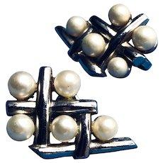 Crown Trifari Silvertone Faux Pearl Clip Earrings - 1955