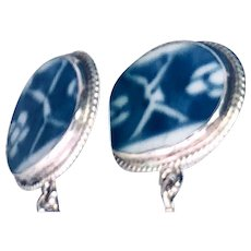 Sterling Silver Ming Dynasty Porcelain Earrings