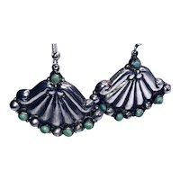 Sterling Turquoise Fan-shaped Pierced Dangle Earrings