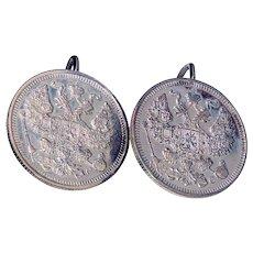 Antique Russian 1914-15 Kopek Earrings