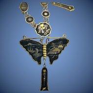 1940s 24K Japanese Damascene Butterfly Necklace