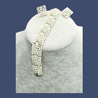 Crown Trifari White Enamel on Gold Link Bracelet Clip Earrings