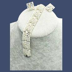 Crown Trifari White Enamel on Gold Link Bracelet Clip Earrings