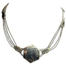 Ethnic Sterling Silver and Niello Turkish Necklace