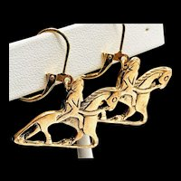 French Vintage Carved Modernist Couture Horse and Rider Earrings