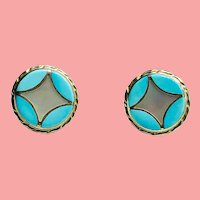 Inlaid Turquoise MOP Sterling Round Post Earrings