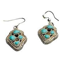 Boho Sterling Turquoise Earrings