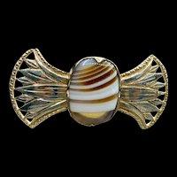 Unusual Brown-white Banded Agate Sterling Brooch
